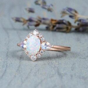 Женское кольцо из розового золота 14 к, натуральный лунный камень, драгоценный камень для женщин