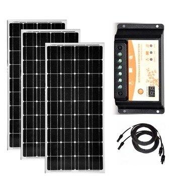 Solar Panel Kit 300w PV Panel 100w 12v 3 Pcs  Solar Charge Controller 12v/24v 20A Car Camp Caravan RV Motorhomes Boat Phone LED