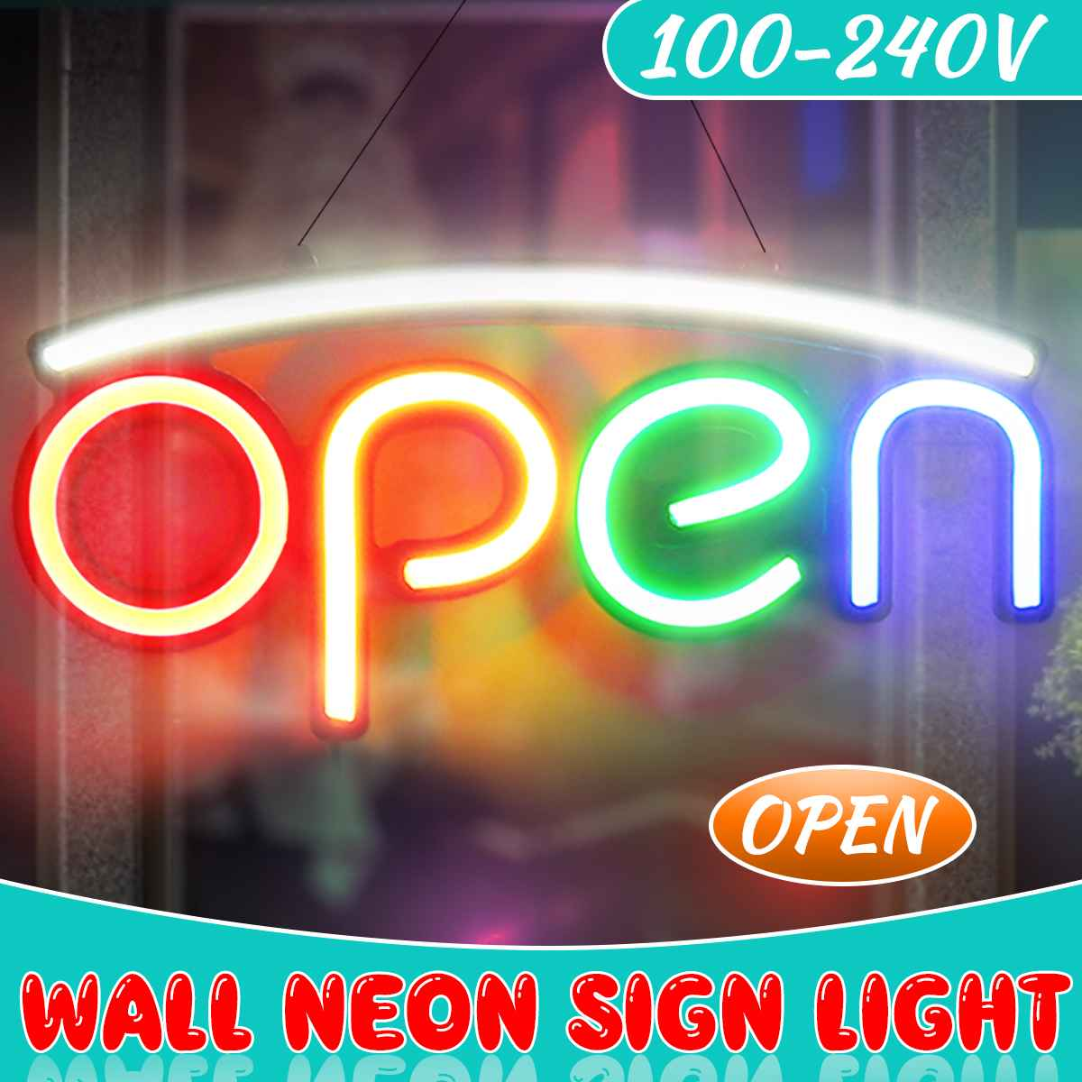 OPEN Neon Sign Light Bar Pub Party Night Light Wall Lamp Home Room Decoration Indoor Lighting Advertising Signs 100-240V EU Plug
