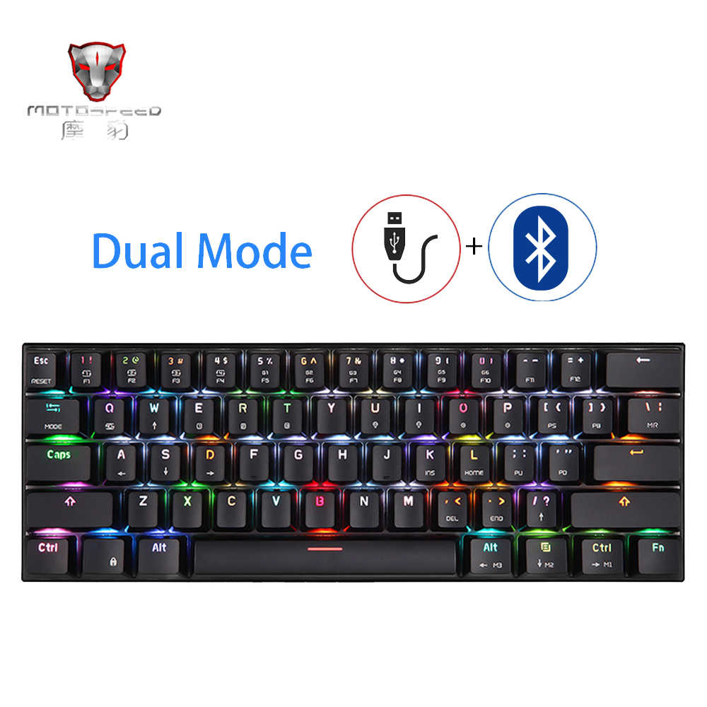 MOTOSPEED CK62 USB Verdrahtete Bluetooth Wireless Dual Modus Mechanische RGB Backlit Gaming Tastatur, 61 Tasten Tragbare Mini Tastatur