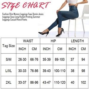 Image 2 - נשים Slim אופנה חותלות פו ג ינס ג ינס אישה כושר מכנסיים Jeggings חותלות הדפסה מזדמן מכנסי עיפרון בתוספת גודל