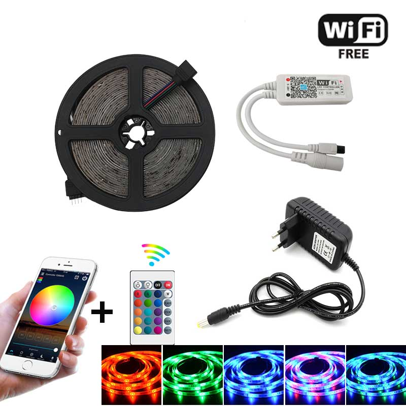 WiFi IR Contoller + Adapter stecker 5m 10m 15m <font><b>20m</b></font> <font><b>LED</b></font> Streifen Licht RGB SMD5050 2835 DC12V Wasserdicht String Diode Flexible Band image