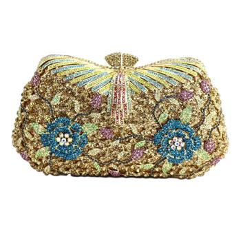 Hollow Out Flower Crystal Evening Clutch   4