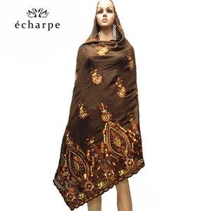 Image 5 - 새로운 아프리카 여성 스카프 이슬람 여성 큰 자수 면화 스카프 wharf 타월과 편안한
