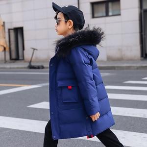 Image 5 - OLEKID 2019 30 度ロシア冬の子供の男の子付きの暖かいダウン少年 7 14 年十代のコート子供パーカー