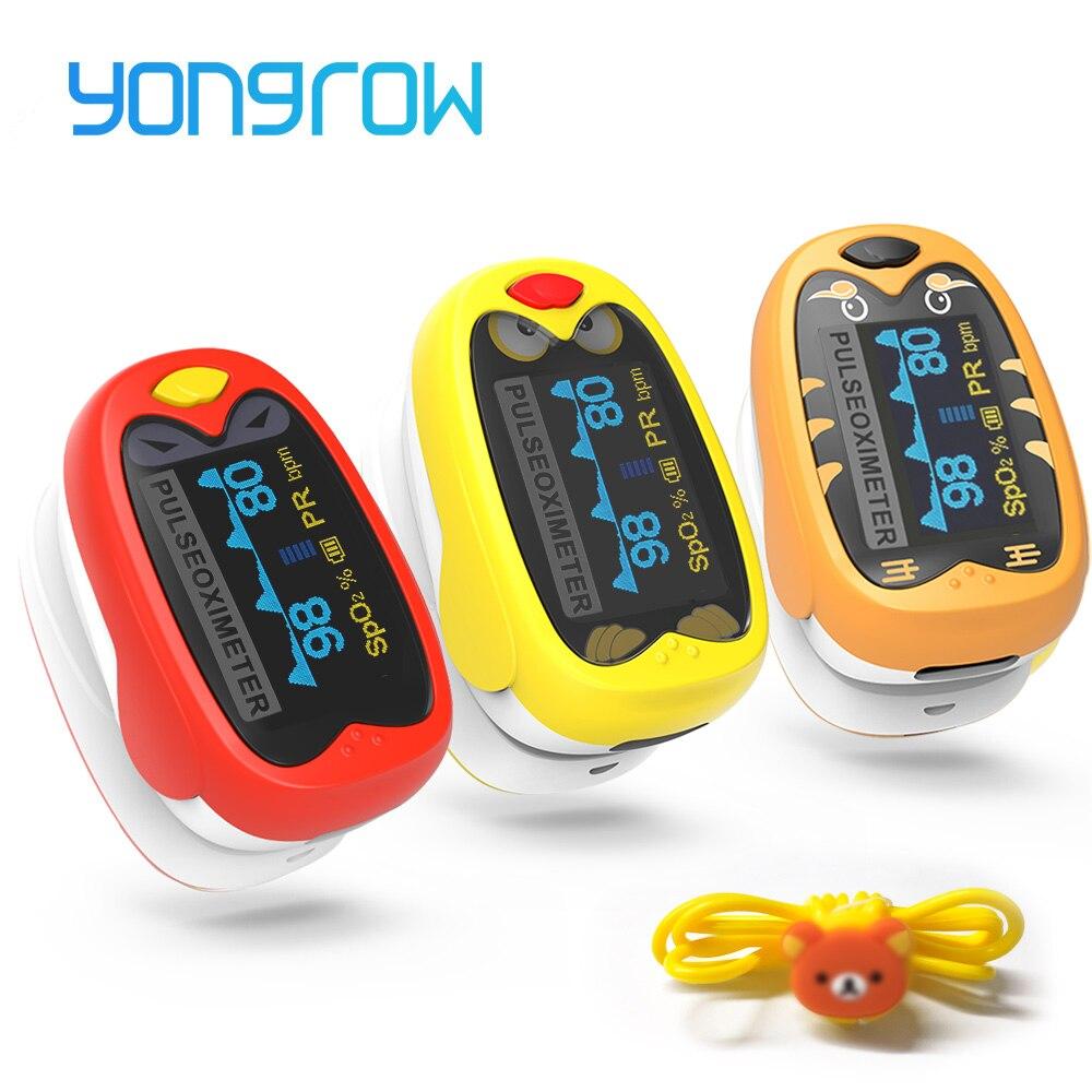Yongrow médico infantil dedo oxímetro de pulso pediatra spo2 sangue oxigênio saturação medidor neonatal crianças recarregável