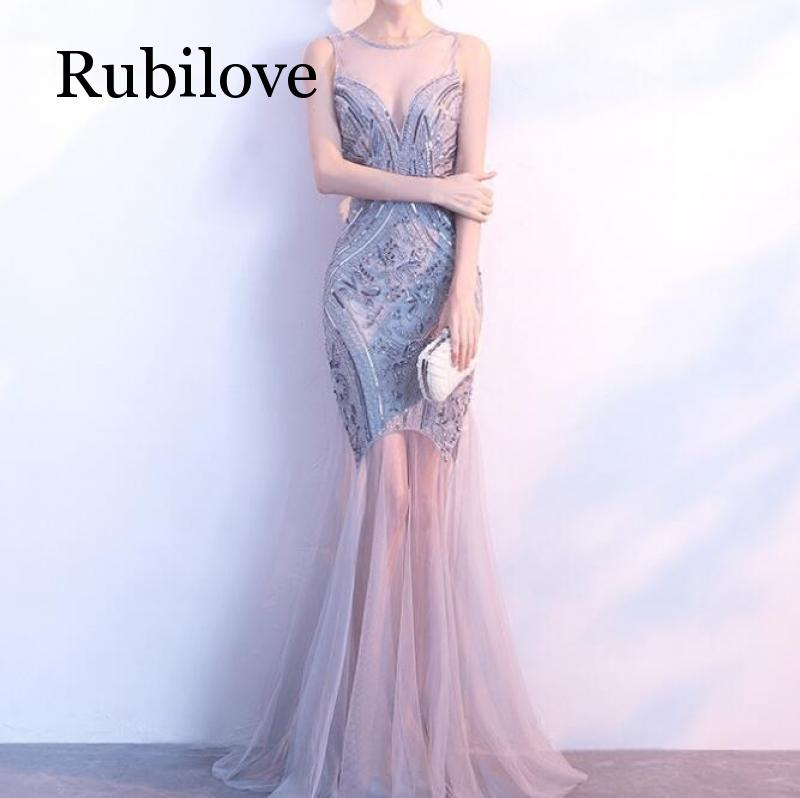 Rubilove Party dress fishtail 2019 new slim female large size beaded sequin