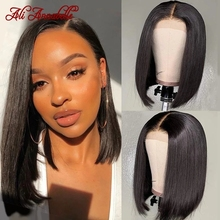 Wigs Human-Hair-Wigs Lace Closure Lace-Frontal Bob Ali-Annabelle Pre-Plucked 13x4 Straight