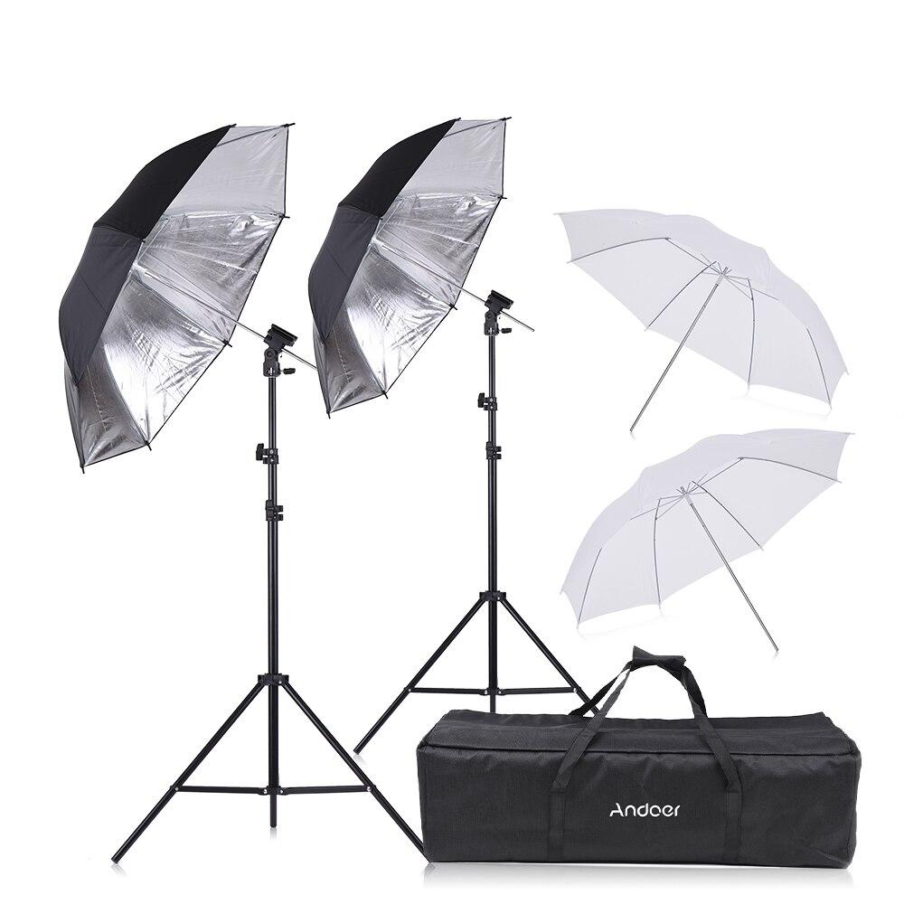 Andoer Flash Speedlight support de chaussure pivotant Kit de parapluie souple + supports + support de lumière + parapluie souple pour Canon Nikon Flash de chaussure chaude-in Accessoires pour studio photo from Electronique    1