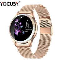 Bluetooth Smart Uhr Frauen Volle Bildschirm Diamant Legierung Smartwatch Herz-Monitor-Sport Dame Uhr für IOS Andriod xiaomi KW20