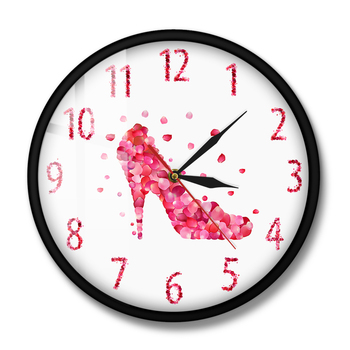 Pink Fashion Wall Art Woman Bedroom Pink Rose Petal Style High Heels Shoe Silent Wall Clock Girly Home Decor Hanging Wall Watch image