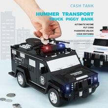 Hucha electrónica de plástico con contraseña para niños, caja de ahorro de dinero, camión, coche, máquina de depósito de monedas, juguetes, regalos, # g4