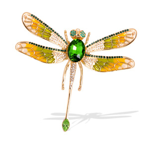 Wuli&baby Big Enamel Dragonfly Brooches Women Exaggeration Rhinestone 6-color Insects Party Banquet Casual Brooch Pins Gifts