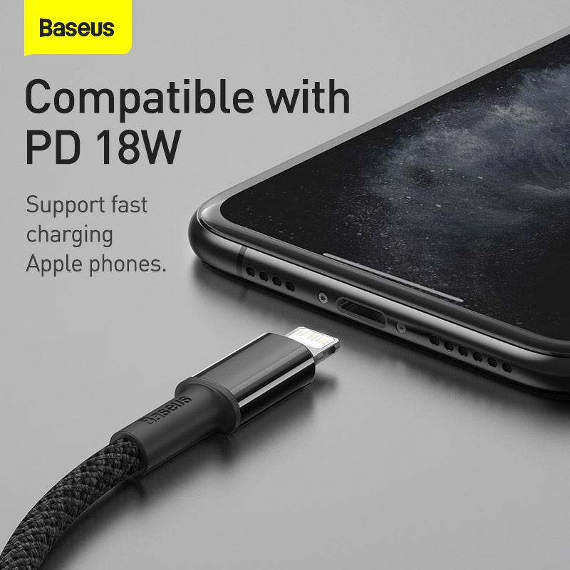 Baseus 20W PD USB Type C Cable for iPhone 13 12 Pro Xs Max Fast Charging Charger for MacBook iPad Pro Type-C USBC Data Wire Cord 3