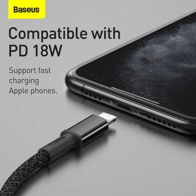 Baseus 20W PD USB Type C Cable for iPhone 12 11 Pro Xs Max Fast Charging Charger for MacBook iPad Pro Type-C USBC Data Wire Cord