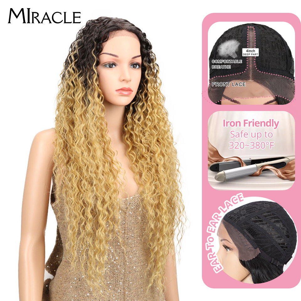 """Miracle Heat Resistant Synthetic Wigs For Black Women Kinky Curly 30"""" Ombre Wig Honey Blonde Natural Lace Front Wig Middle Part"""