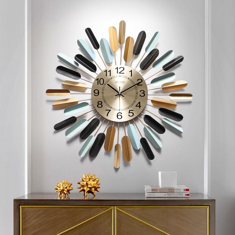 American Large Wall Clock Living Room Luxury Modern Unique Kitchen Home Art Creativemetal Big Wall Decorations Living Room W6 Wall Clocks Aliexpress