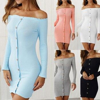 Vestido de punto para otoño 2020, vestido a la cadera sin tirantes, sexy, de algodón, para otoño e invierno, para mujer