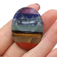 Natural Seven Chakras Scraping Plates Reiki Healing Energy Meditation Transport Peach Crystal Gem Gift Tiger Eye Stone 30x40mm
