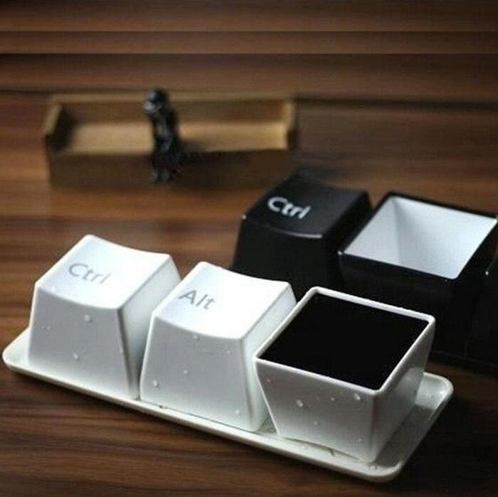 Nueva taza creativa juego de té tazas a la moda Color negro Ctrl Del Alt 3 piezas/tazas regalos de promoción tazas de café tazas y tazas