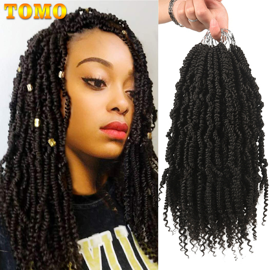 TOMO Pre Looped Passion Twist Hair 12 Inch Short Ombre Spring Twist Crochet Hair Light 70g/Pc Synthetic Braiding Hair Extension