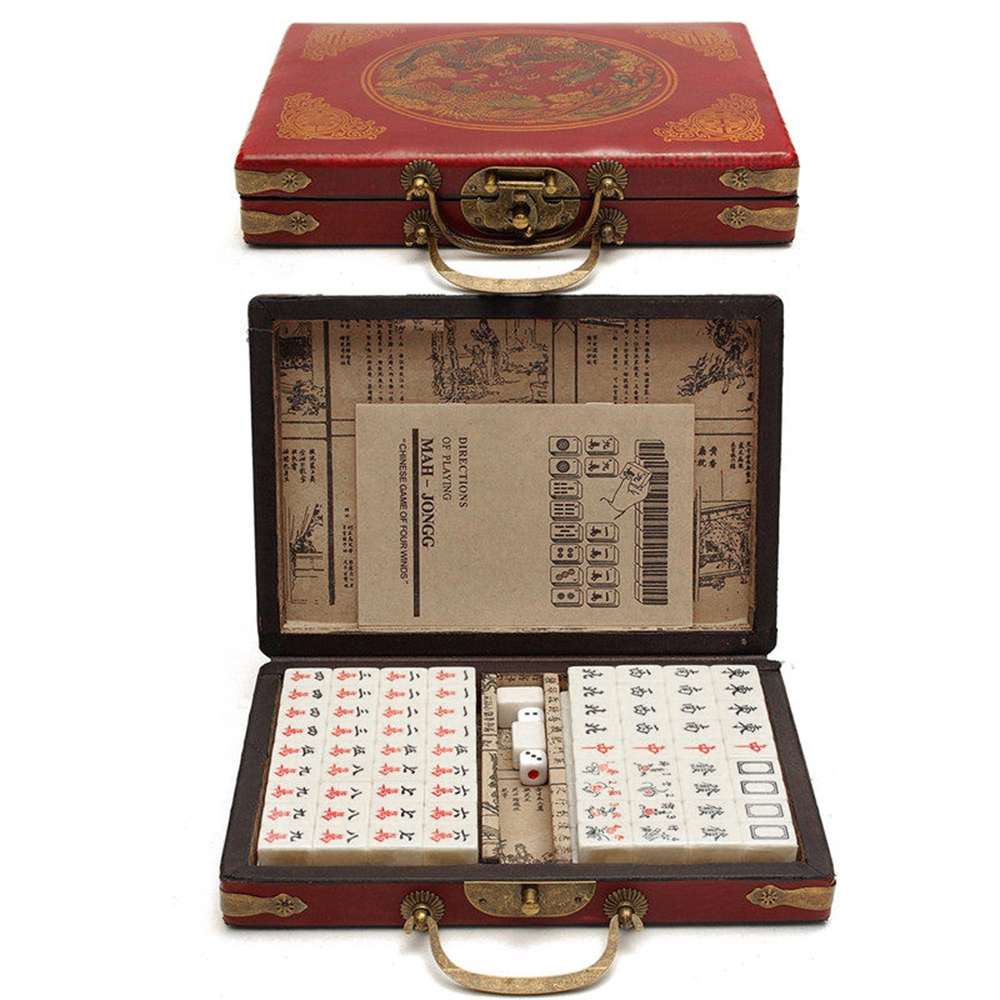 Chinese Numbered Mahjong Set 144 Tiles Mah-Jong Set Portable Chinese Toy With Box Chinese Mahjong