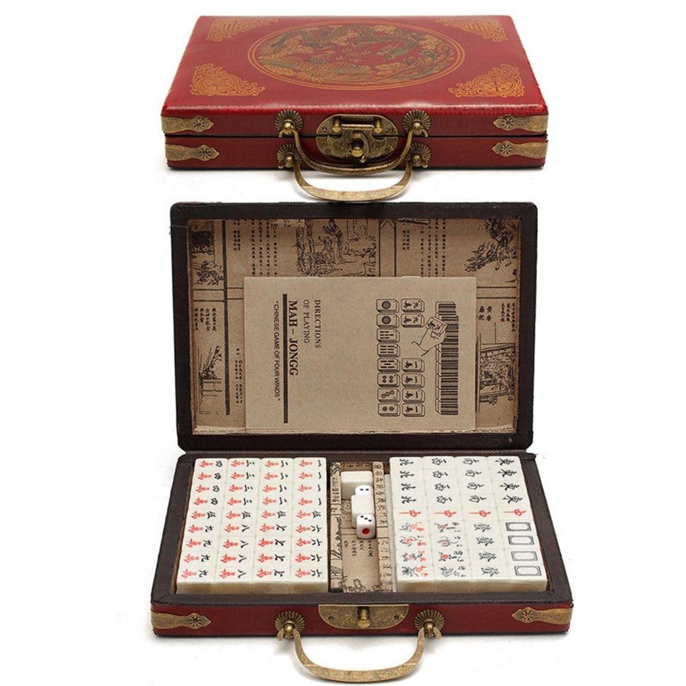 Chinese Numbered Mahjong Set 144 Tiles Mah-Jong Set Portable Chinese Toy With Box Chinese Mahjong
