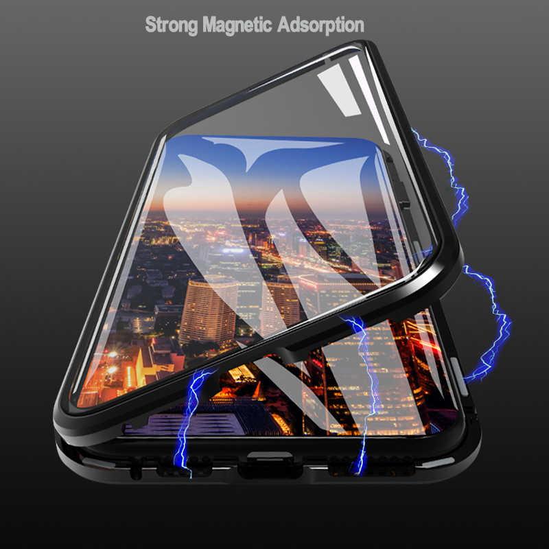 9 h dupla face magnética adsorção caso de vidro de metal para iphone 11 pro para iphone 7 8 xs max xr x 6 capa protetora completa coque