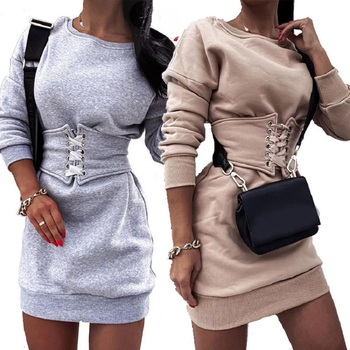 Women Autumn Long Sleeve Pullovers Sweatshirts Dresses O-neck Bandage Waist Mini Dress Plus Size Vestidos image
