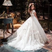 꽃의 소녀 드레스 나비 Applique Applique 여자를위한 미인 대회 드레스 첫 성찬식 드레스 키즈 댄스 파티 드레스