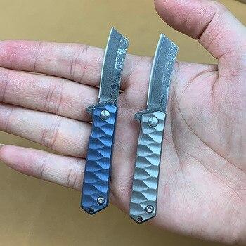 Titanium Handle Mini Pocket Folding Knife D2 / Damascus Blade Outdoor EDC Camping Fruit Knives Utility Tool Gift with Keychain цена 2017