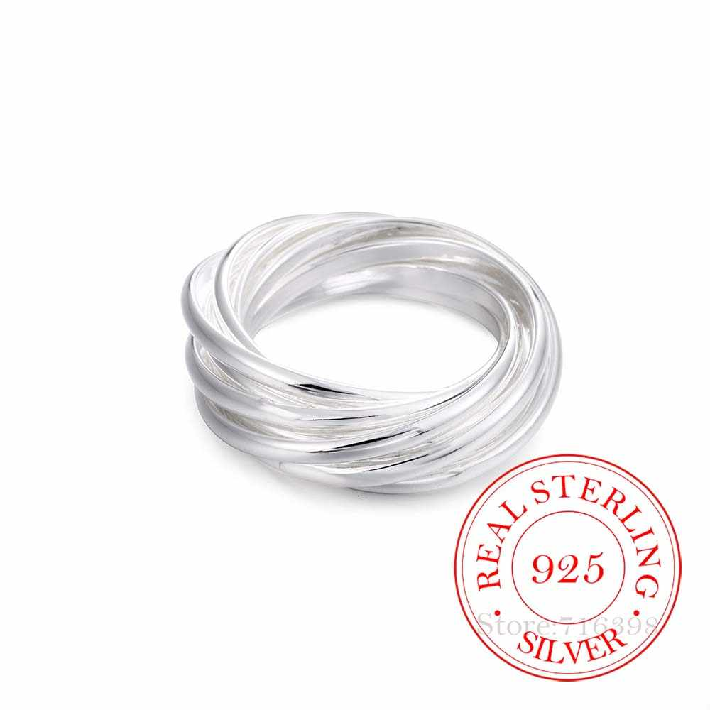 100% 925 เงินสเตอร์ลิงเครื่องประดับ VINTAGE 9 วงกลมแหวนเงินสำหรับผู้หญิงขนาด 6 7 8 9 10 แฟชั่น Anel De Prata Bijoux