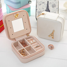 Cute Necklace Rings Earrings Jewel Storage Box ewellery Box,PU Leather Travel Small Jewellery Organiser for Women With Mirror(China)