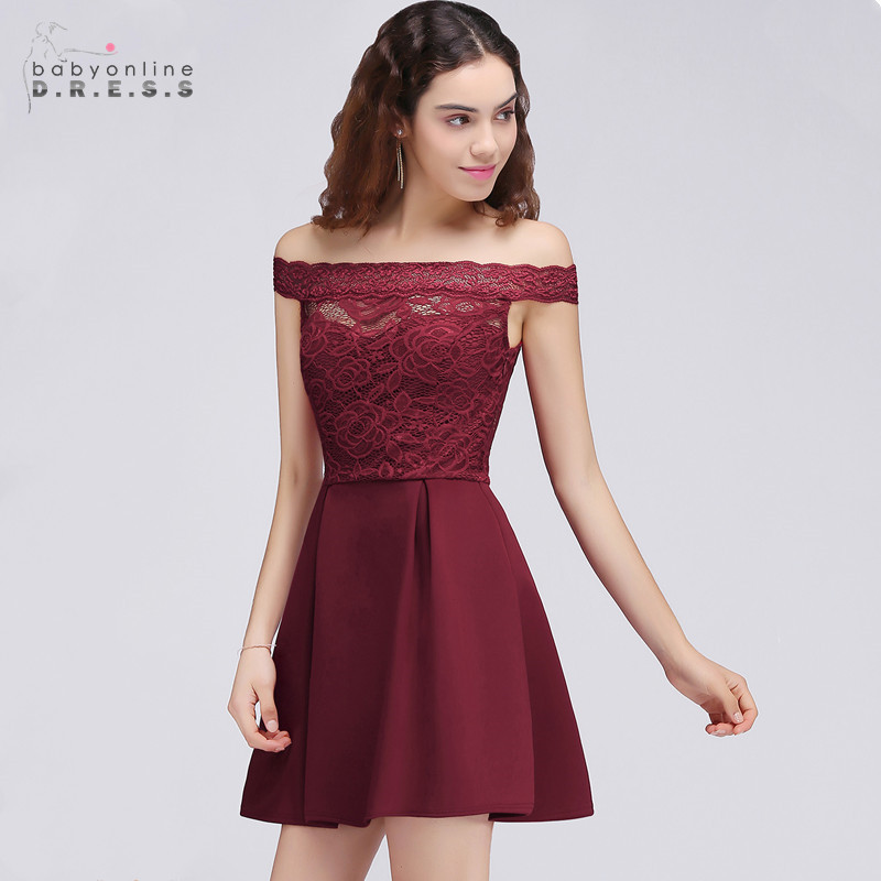 24 Hours Shipping Burgundy Lace Mini   Cocktail     Dresses   Boat Neck A-line Short Party   Dresses   Robe De   Cocktail