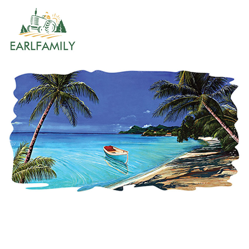 EARLFAMILY 13cm x 7cm RV Trailer <font><b>Motorhome</b></font> Camper <font><b>Decal</b></font> Funny Beach Tropical Scene Ocean Graphic <font><b>Sticker</b></font> 3D Styling image