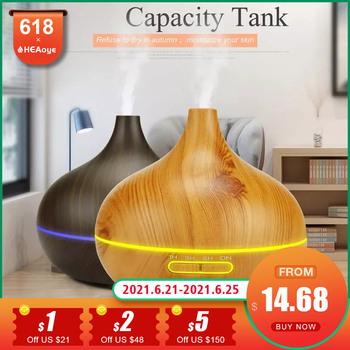 Nawilżacz powietrza z drewna Aroma dyfuzor Aromatherap dyfuzor domowy zdalny 7 kolor światła elektryczny fajny Mini nawilżacz Maker tanie i dobre opinie LAQVLA 1l 220 v 36db CN (pochodzenie) Ultradźwiękowe Aromaterapia Gospodarstw domowych Inne 11-20 ㎡ Fortepian