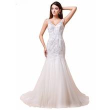 KapokBanyan Real Photo Appliques V Neck Mermaid Wedding Dresses 2017 New Cheap Sleeveless Backless Bridal Gown Vestido de noiva