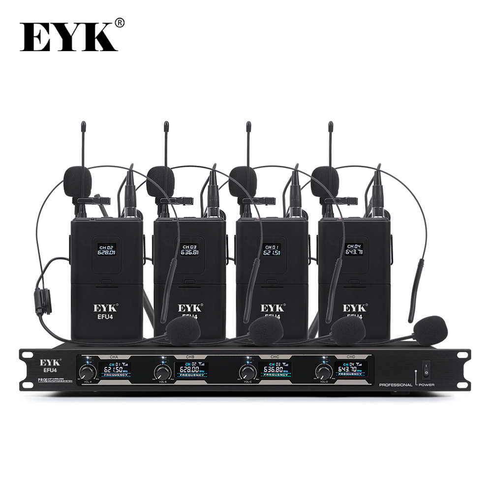 EYK EFU4 4 Channel UHF Wireless Microphone System with 4 Bodypack Headset and Lapel Mic for Stage Church Family Party KaraokeMicrophones   -