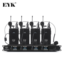 EYK EFU4 4 Channel UHF Wireless Microphone System with 4 Bodypack Headset and Lapel Mic for Stage Church Family Party Karaoke