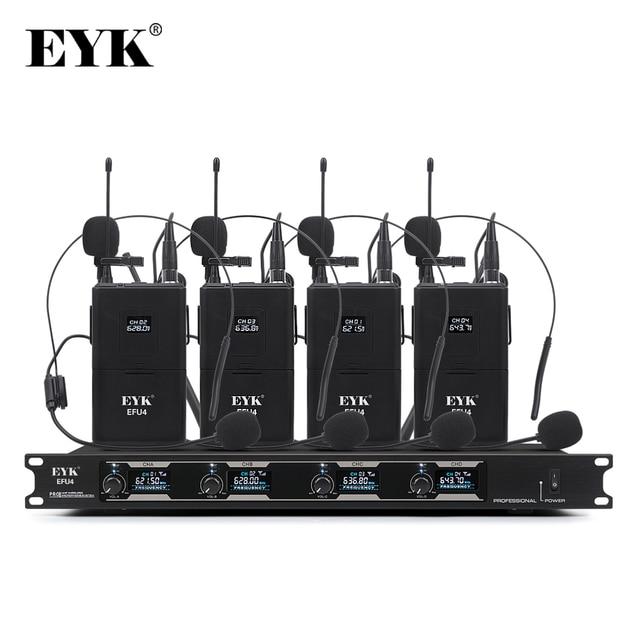 EYK EFU4, sistema de micrófono inalámbrico UHF de 4 canales, con 4 auriculares de bolsillo y micrófono de solapa, para karaoke de fiesta familiar en la iglesia