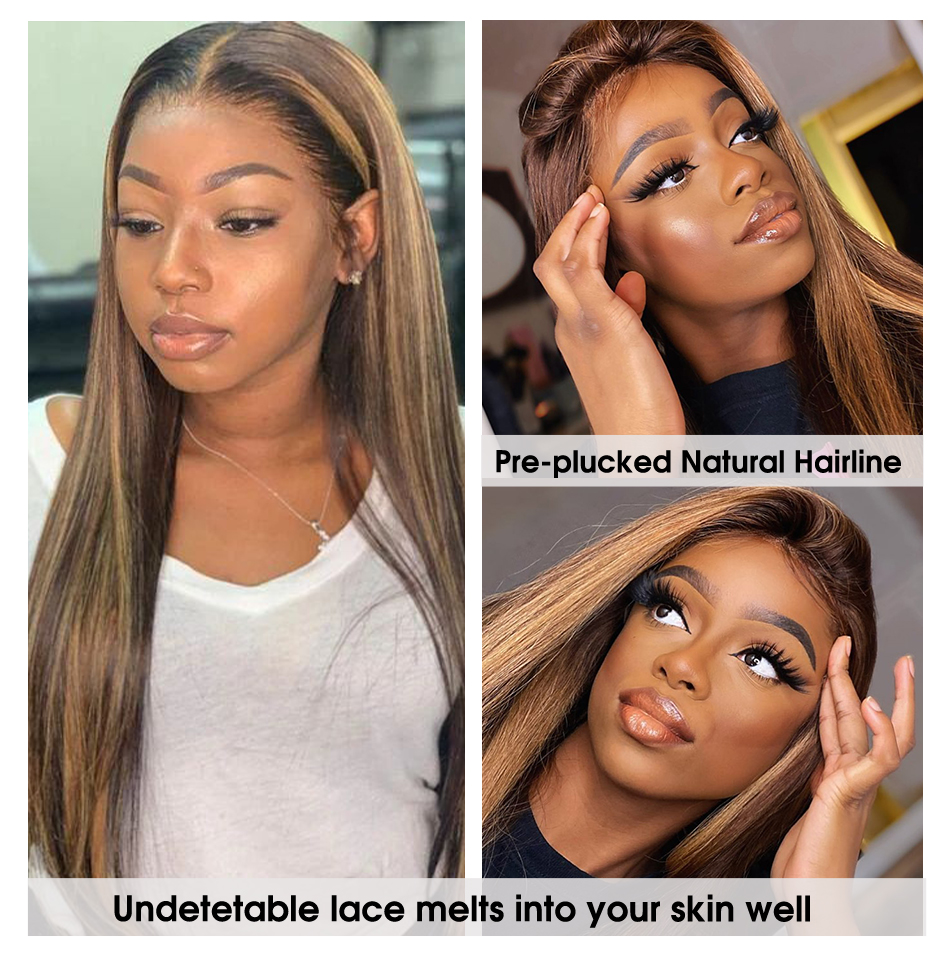 Ombre Highlight Wig Brown Honey P4/27 Colored Swiss 13x4X1 Lace Front  Wigs Straight  Highlight Bundles Lace Wigs 5
