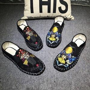 Image 3 - Licht Harte Tragende Gummi Leinwand Frühling Mode Sticken Schuhe Männer Wohnungen Schuhe Mann Leinwand Harajuku Mann Espadrilles Faulenzer