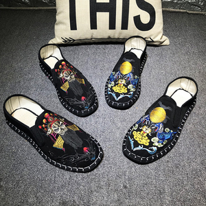 Image 3 - Light Hard Wearing Rubber Canvas Spring Fashion Embroider Shoes Men Flats Shoes Man Canvas Harajuku Man Espadrilles Loafers