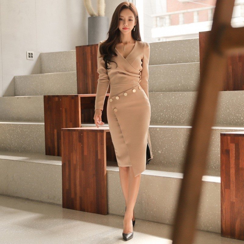 New Designer Office Lady Autumn Two Pieces Set V-Neck Tops And Asymmetrical Pencil Skirt Women Elegant Slim Sexy Outfits Femme