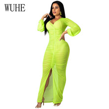 WUHE Perspective Solid Mesh Slim Maxi Dress Elgant Long Sleeve Women Boho Beach Party Club Stylish Femme Fashion Robe