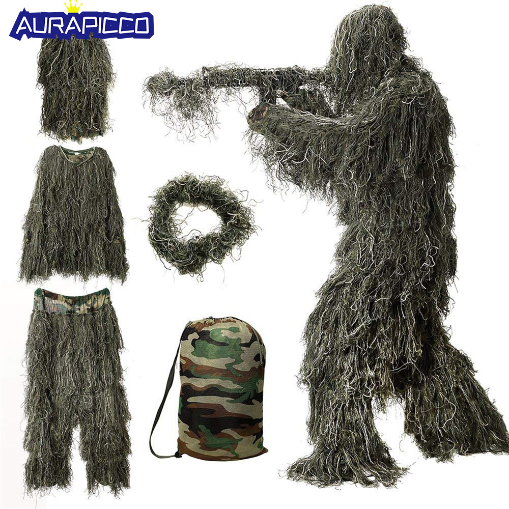 Kids Camouflage Hunting Ghillie Suit Secretive Hunting Clothes Sniper Suit Army Camouflage Uniform Special Soldier Costume