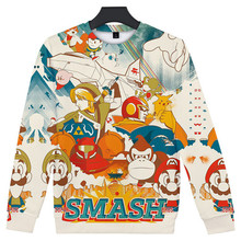 купить Super Smash Bros Mens Autumn Desinger Hoodies Pullover 3D Print Crew Neck Long Sleeve Homme Clothing Cartoon Style Casual Appare дешево