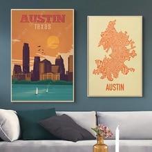 Mapa de América Dallas Austin Texas viajes pintura cuadros Vintage Kraft carteles recubiertos pegatinas de pared regalo de decoración del hogar
