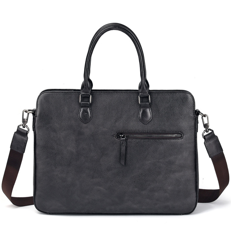 Nesitu High Quality New Black Coffee A4 Genuine Leather Office Men's Briefcase Portfolio Business Messenger Bag M9102