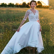 Sexy Illusion Half Sleeve Vintage Wedding Dresses 2019 3D Flowers Satin V-neck A-line Wedding Gown Bridal Dress For Women women ruffle layered v neck dresses casual high waist flare sleeve a line dress 2019 summer fashion vintage printed dresses